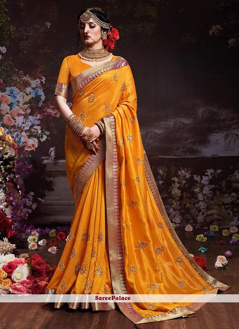 Silk Embroidered Silk Saree in Mustard