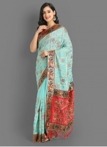 Embroidered Silk Saree in Turquoise