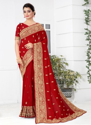 Silk Embroidered Traditional Designer Saree in Red