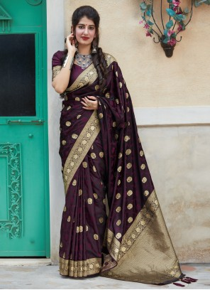 Silk Embroidered Wine Traditional Saree