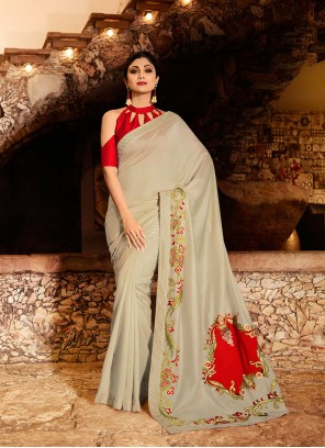Silk Embroidered Traditional Saree in Grey