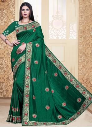 Silk Embroidered Trendy Sea Green Saree