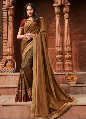 Silk Embroidered Trendy Saree in Brown