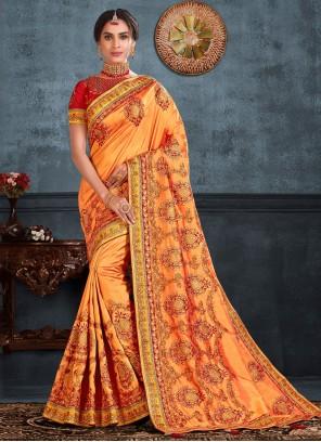 Silk Embroidered Trendy Saree in Orange