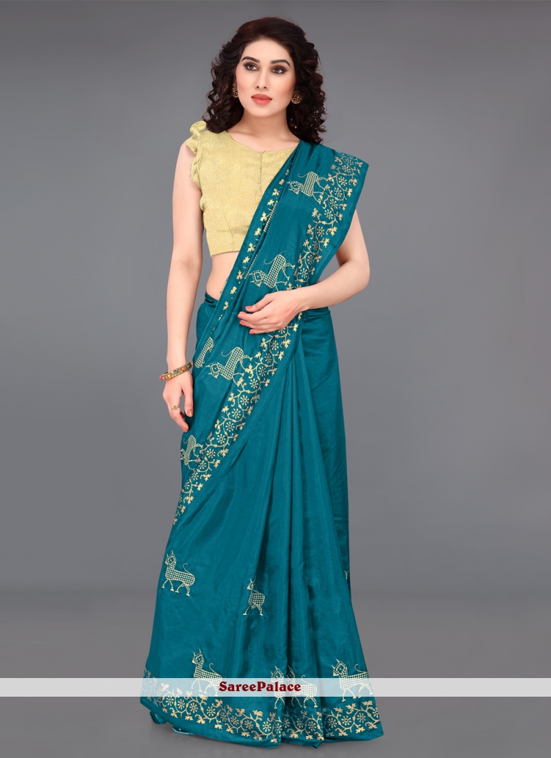 Silk Embroidered Turquoise Casual Saree