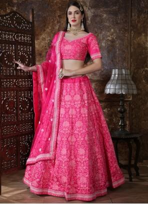 Hot Pink Silk Engagement A Line Lehenga Choli