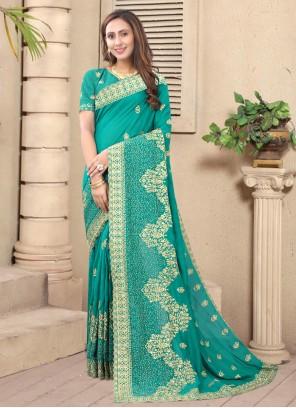 Silk Engagement Rama Designer Saree