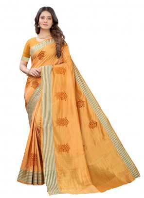 Silk Fancy Orange Traditional Designer Saree