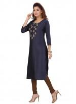 Silk Fancy Party Wear Kurti in Navy Blue