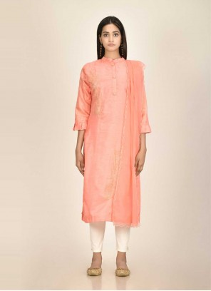 Silk Fancy Peach Readymade Suit
