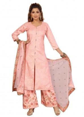 Peach Silk Fancy Readymade Suit