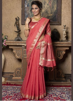 Silk Fancy Rose Pink Trendy Saree