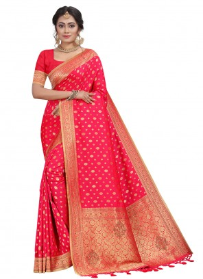 Silk Fancy Traditional Designer Saree in Pink