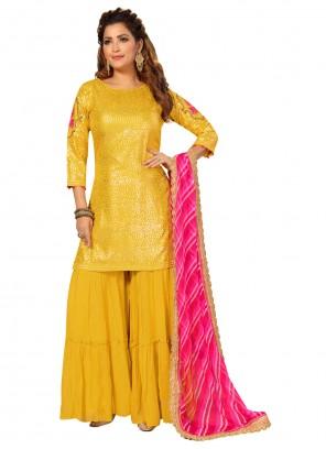 Silk Fancy Yellow Readymade Suit
