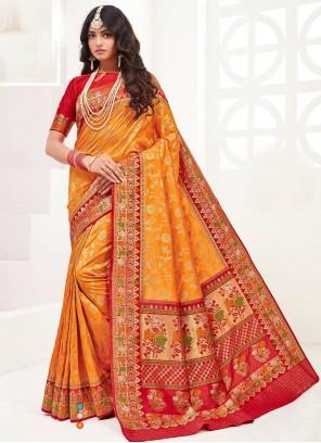 Silk Festival Contemporary Orange Saree