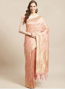 Silk Festival Peach Designer Saree