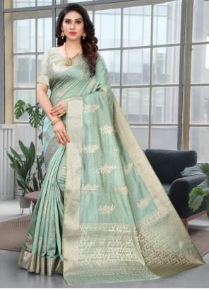 Weaving Zari Work Silk Designer Saree in Green