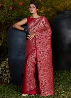 Silk Festival Maroon Designer Traditional Saree