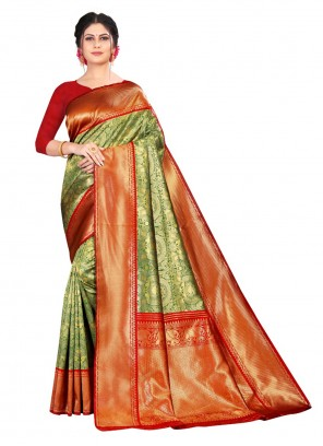 Green And Red Silk Festival Designer Traditional Saree