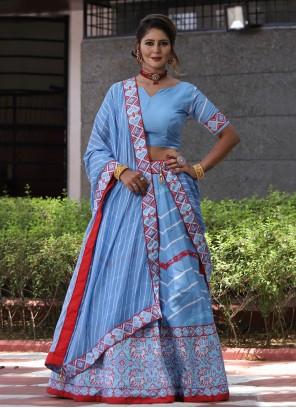 Blue Silk Festival Lehenga Choli