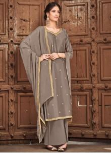 Grey Silk Festival Palazzo Straight Suit