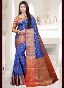 Blue Silk Festival Traditional Designer Saree