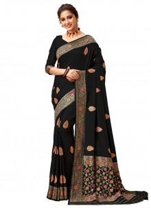 Silk Festival Trendy Black Saree