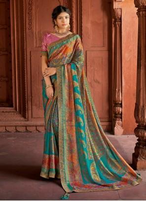 Silk Floral Print Multi Colour Printed Saree