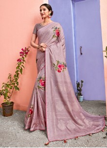 Silk Floral Print Silk Saree in Pink