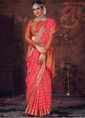 Silk Fuchsia Weaving Traditional Designer Saree