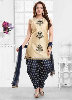Silk Gold Aariwork Designer Salwar Suit