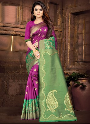 Silk Green and Pink Traditional Saree