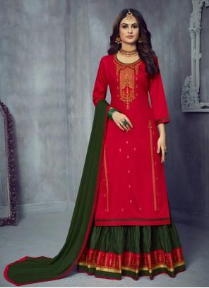 Silk Green and Red Designer Long Lehenga Choli