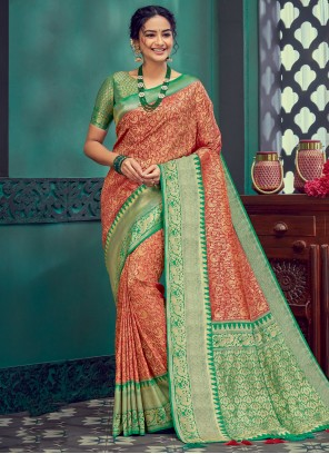 Silk Green and Red Traditional Designer Saree