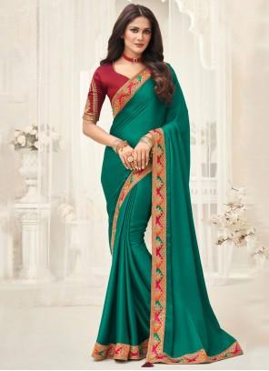 Silk Green Border Classic Saree