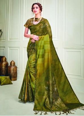 Silk Green Crystal Contemporary Saree