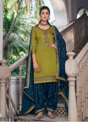 Silk Green Designer Patiala Suit