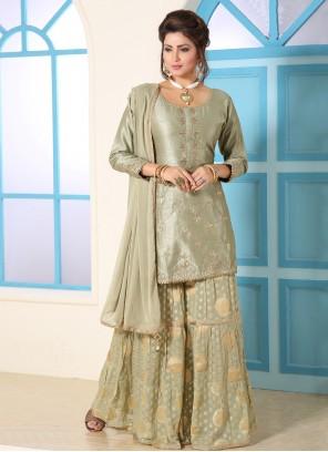 Silk Green Embroidered Bollywood Salwar Kameez