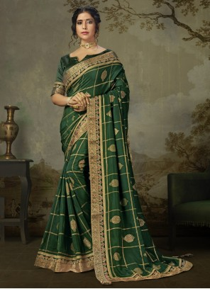 Silk Green Embroidered Classic Saree
