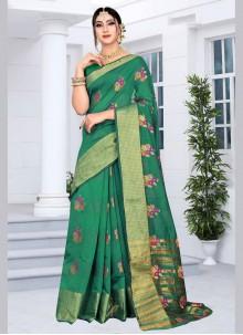 Silk Green Embroidered Silk Saree