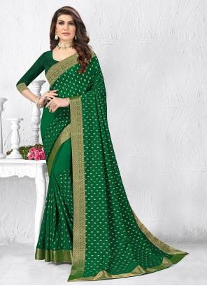 Silk Green Lace Casual Saree