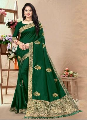 Silk Green Lace Designer Traditional Saree