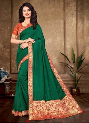 Silk Green Lace Traditional Designer Saree