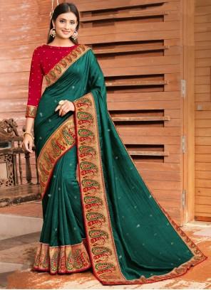Silk Green Patch Border Designer Traditional Saree