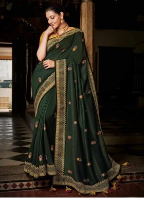 Silk Dark Green Weaving Classic Saree