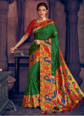 Silk Green Weaving Designer Contemporary Saree