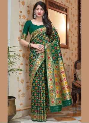 Silk Green Weaving Traditional Saree