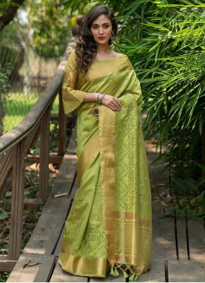 Silk Green Woven Traditional Saree