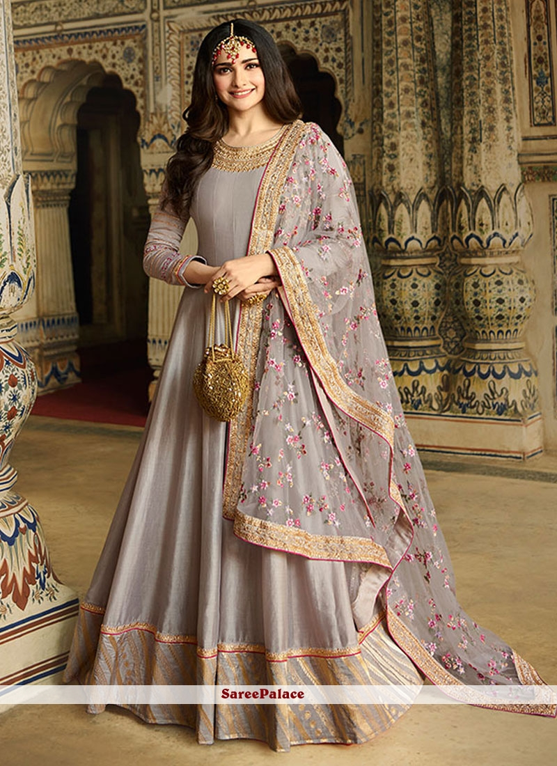 Silk Grey Anarkali Salwar Suit