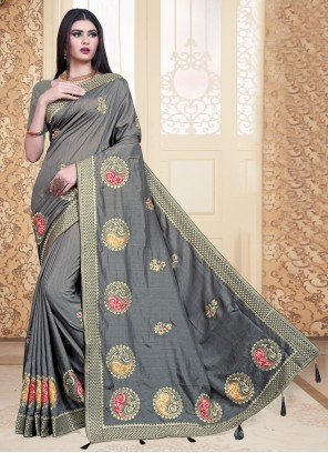 Silk Grey Contemporary Saree